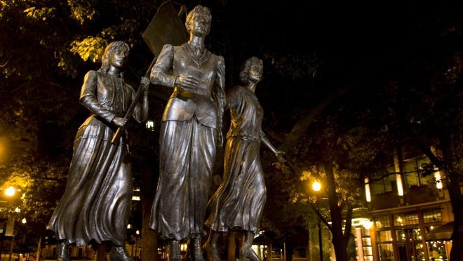 The Tennessee Women's Suffrage Memorial at the entrance to Market Square was sculpted by Nashville's Alan LeQuire. The Memorial depicts Tennessee suffragists Lizzie Crozier French, center, Anne Dallas Dudley, left, and Elizabeth Avery Meriwether.