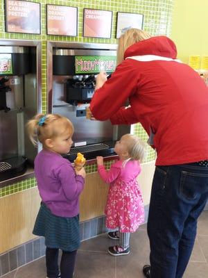 The Muddy Monkey is a self-service frozen dessert shop offering 21 flavors of ice cream and many more toppings. Customer pay by the ounce for their treat.