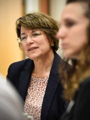 In this file photo U.S. Sen. Amy Klobuchar listens during a roundtable discussion on Alzheimers at the Good Shepherd Senior Campus in Sauk Rapids.