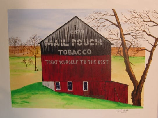 Ernie Galajda's painting of a Mail Pouch barn.