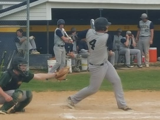 Littlestown's Devin Gullickson hits a double during