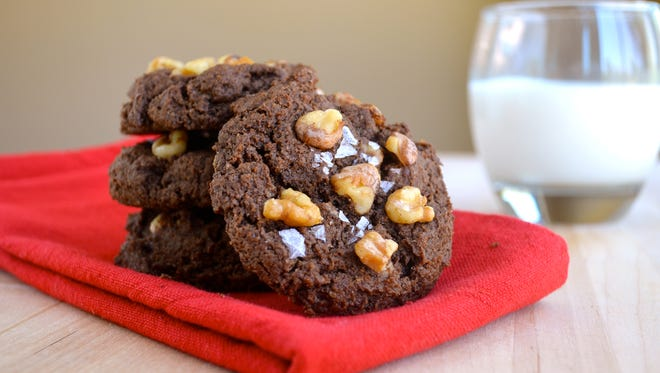 Double Dark Chocolate Chip Cookies with Walnuts and Sea Salt.