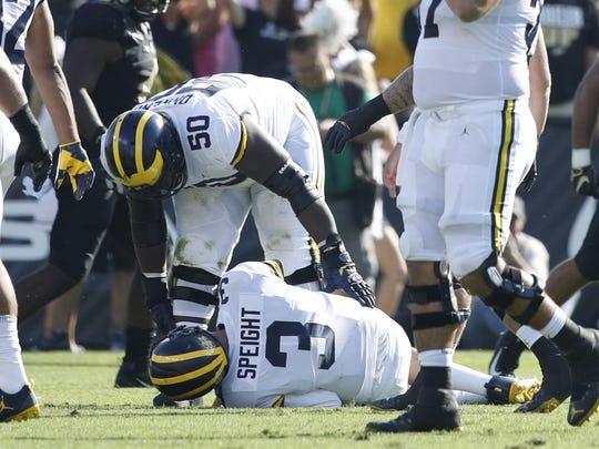 Wilton Speight, Michigan's starting quarterback, has