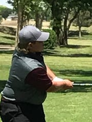 Brownwood's Jaryn Pruitt chips at No. 18 during Thursday's second round of the Region I-4A tournament at the Shadow Hills Golf Club in Lubbock.