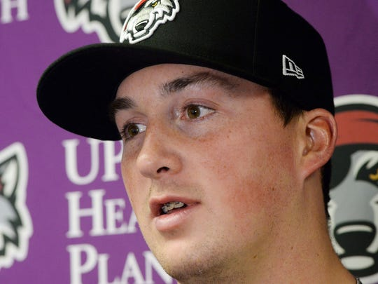 Erie SeaWolves pitcher Kyle Funkhouser is interviewed during media day at UPMC Park in Erie, Pa. on April 3, 2018.
