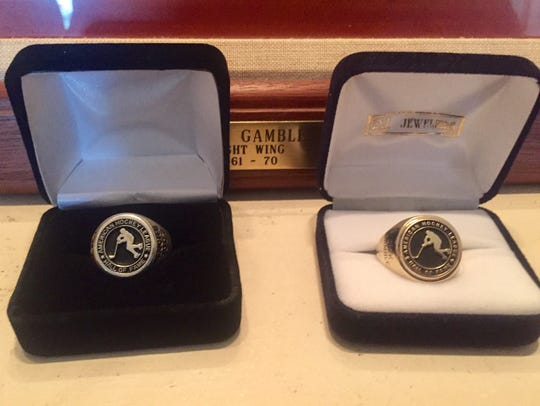 The AHL Hall of Fame ring on left is a duplicate Dick