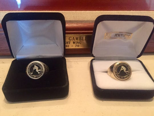 The AHL Hall of Fame ring on left is a duplicate Dick Gamble's son had made after he lost original while swimming in Canandaigua Lake, never telling anyone. After diver found the ring, Craig Gamble's three-year secret was happily revealed.