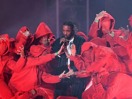 Kendrick Lamar durante su participación en la edición 60 de los Grammy's Music Awards.