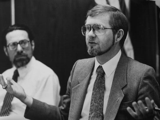 Former state Rep. David Hollister, right, was part