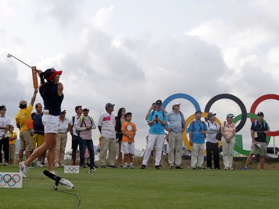 Gerina Piller of the United States tees on the 17th