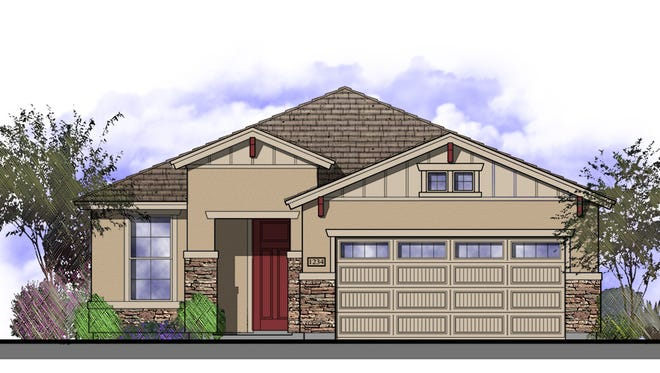 """The """"Madera,"""" a three-bedroom, two-bathroom home, is one of the models to be built at Bethany Ranch."""