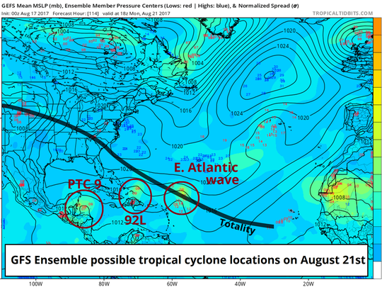 GFS ensemble possible tropical cyclone locations on August 21