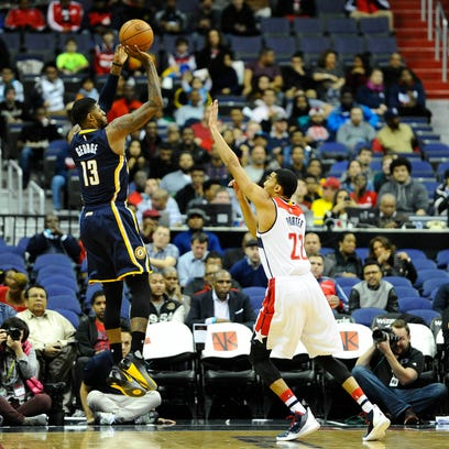 Indiana Pacers forward Paul George (13) shoots the