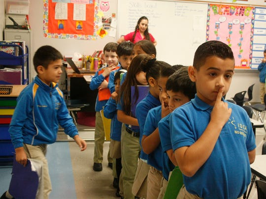 IDEA Pharr Academy students line up before transitioning between activities at the South Texas charter school.