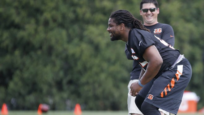 Bengals linebacker Vontaze Burfict rehabilitates his knee on the practice fields adjacent to Paul Brown Stadium in late May.