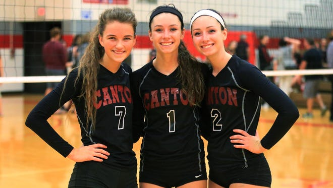 Best friends off the court and a menace to face on the court are Canton's (from left) Gabby den Boer, Sabrina Giacomini and Gina Giacomini.