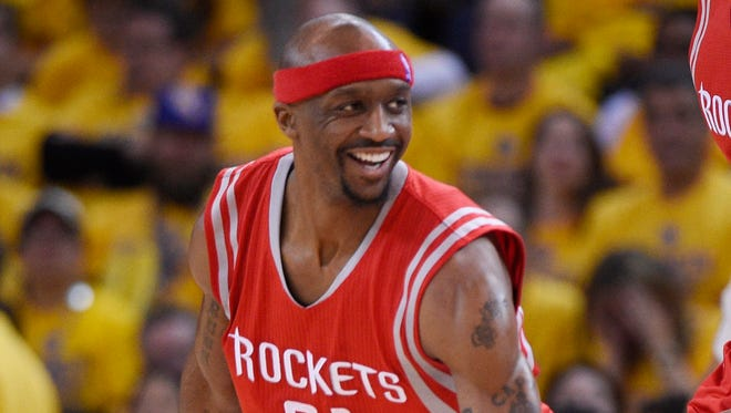 May 19, 2015; Oakland, CA, USA; Houston Rockets guard Jason Terry (31) reacts after a basket against the Golden State Warriors in the second half in game one of the Western Conference Finals of the NBA Playoffs at Oracle Arena. Mandatory Credit: Kyle Terada-USA TODAY Sports
