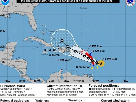 The official track forecast for Hurricane Maria as
