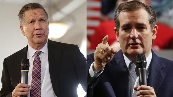 Republican presidential candidates John Kasich, left,