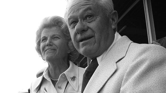 Mrs. John Tweedy and trainer Lucien Laurin watch as their Secretariat wins the Kentucky Derby at Churchill Downs, Louisville, Ky.-  1973  -1973 FILE PHOTO Lucien Laurin, right, and owner Penny Chenery watched Secretariat charge to victory in the 1973 Kentucky Derby.