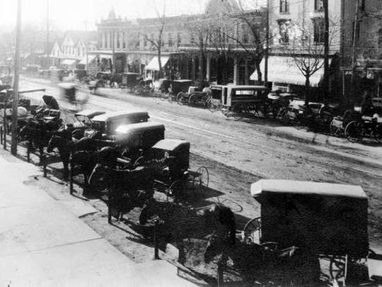 An early, undated view of Landis Avenue. When founded in 1861, Landis Avenue was the first Vineland street to be cut through the wilderness, and it quickly emerged as the town's economic and social center.