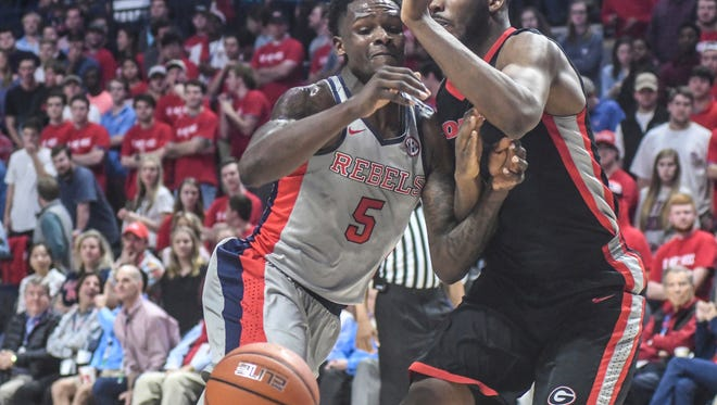 Ole Miss forward Marcanvis Hymon (5) committed one of 13 Rebels  turnovers in a loss to Georgia Wednesday.