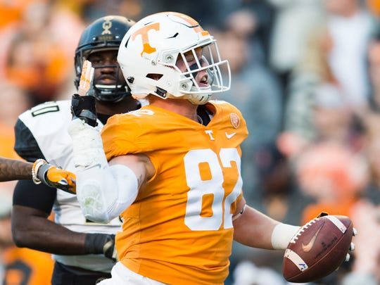 Tennessee tight end Ethan Wolf (82) celebrates a play during a game between Tennessee and Vanderbilt at Neyland Stadium in Knoxville, Tenn., on Saturday Nov. 25, 2017.