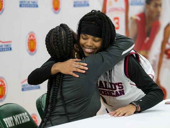 Destanni Henderson hugs her mom Joyel James after being named a McDonald's All American on Tuesday, Jan. 23, 2018, at Fort Myers High School. Henderson is the first female athlete from Lee County to earn that honor.