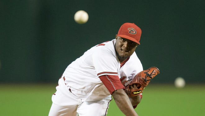 Arizona Diamondbacks pitcher Rubby De La Rosa delivers a pitch against the Miami Marlins at Chase Field July 20, 2015.
