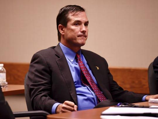 Defendant Nick Lyon listens during testimony Wednesday.