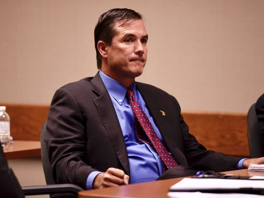 Defendant Nick Lyon listens during testimony Wednesday.