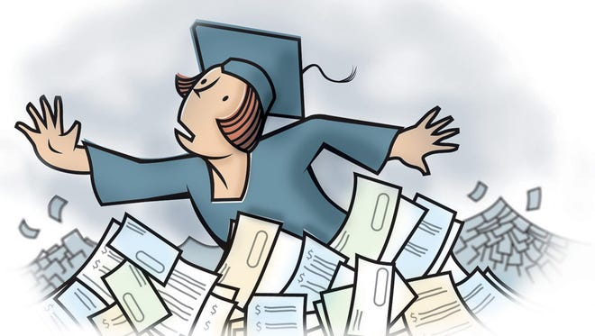 Illustration depicts a college graduate swimming in a sea of student loans.