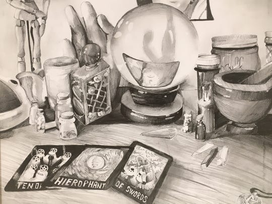 """Witch's Dresser"" by Central High School junior Casey Robbins won the best drawing category in the 2016 East Tennessee Student Art Exhibition."