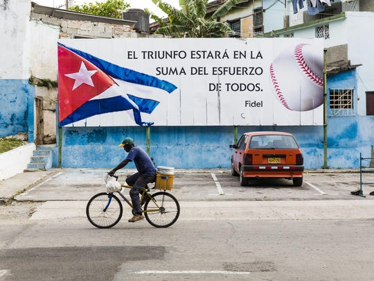 "A street scene across from the Latinoamerican Stadium in Havana, Cuba is among the photos to be displayed at Binghamton University's exhibit ""Baseball in Cuba: A Photographic Essay by Ira Block."""