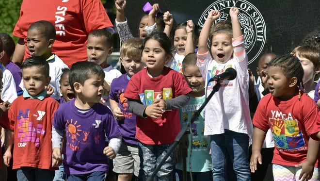 Preschool students perform in Tyler, Texas, on May 3, 2016.
