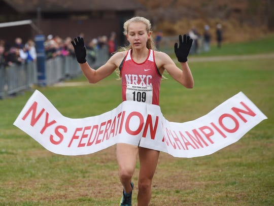 North Rockland's Katelyn Tuohy crosses the finish line,