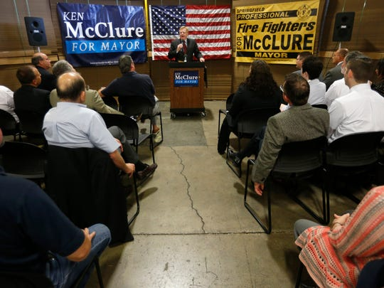 Springfield City Councilman Ken McClure announces his candidacy for Mayor of Springfield during a press conference at SMC Packaging Group on Wednesday, August 24, 2016.