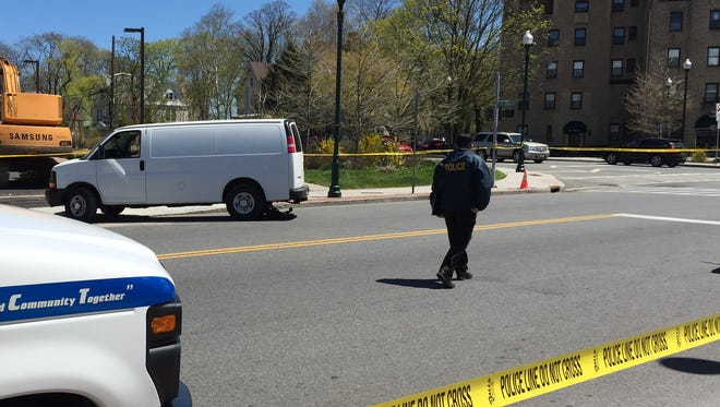 New Rochelle investigate a fatal accident in which a white van, pictured, struck a pedestrian Tuesday.