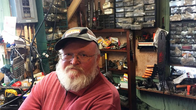 Dan Anderson, who runs Anderson's Saw Shop outside Richland Center, Wis., describes himself as an independent who voted for Democrat Hillary Clinton only because of health care.