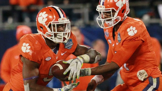 Independent Mail file photo Quarterback Deshaun Watson (4) and running back Wayne Gallman (9) are two of Clemson's top athletes from the state of Georgia.
