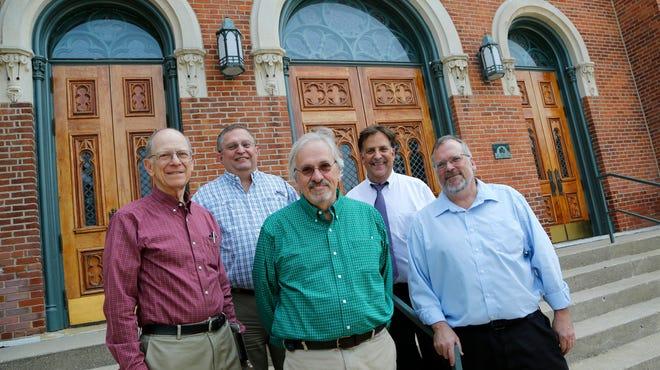 Gordon Coppoc, left, Dave Carmichael, Will Miller, Steven Riggs and Harry Mohler  on the steps outside First Baptist Church in Lafayette.
