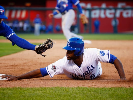 Lorenzo Cain is a threat to steal a base whenever he gets on.