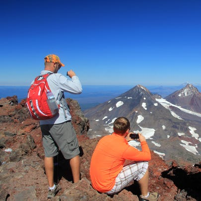 The summit of South Sister gets fairly crowded during sunny weekends in August and September.