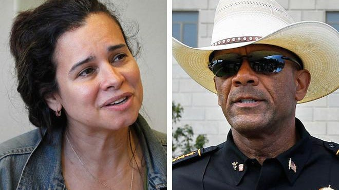 Christine Neumann-Ortiz (left), director of Voces de la Frontera, filed an open records lawsuit against Sheriff David A. Clarke Jr. (right) for release of unredacted documents detailing detail detention of prisoners for possible immigration violations. The state Supreme Court has agreed to take up Clarke's appeal of earlier rulings the Clarke muse release the documents.