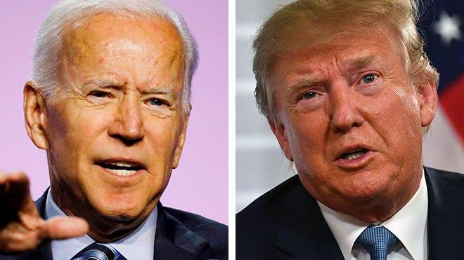Former Vice President Joe Biden, left, and President Donald Trump