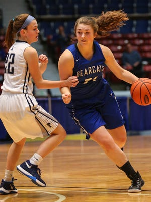 Walton-Verona's Hailey Ison drives the ball upcourt against Presentation's Jaelin Thompson in the State All A Classic in Frankfort, Wednesday, January 27, 2016.