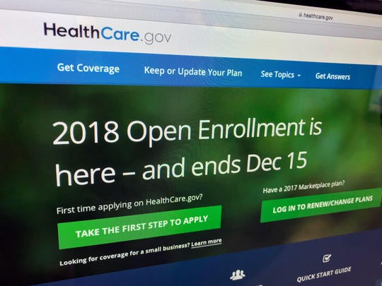 The HealthCare.gov website is photographed in Washington. The Trump administration is close to finalizing a health insurance option for small firms and self-employed people that would cost less but could cover fewer benefits than current plans, congressional officials and business groups said.