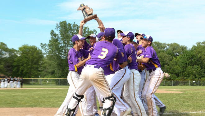 Plymouth Christian Academy players celebrate after winning the Division 4 baseball district championship game against Lutheran Westland.