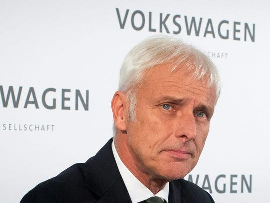 Matthias Mueller, new chief executive of Volkswagen AG, attends a press conference at the VW factory in in Wolfsburg, Germany, 25 September 2015.