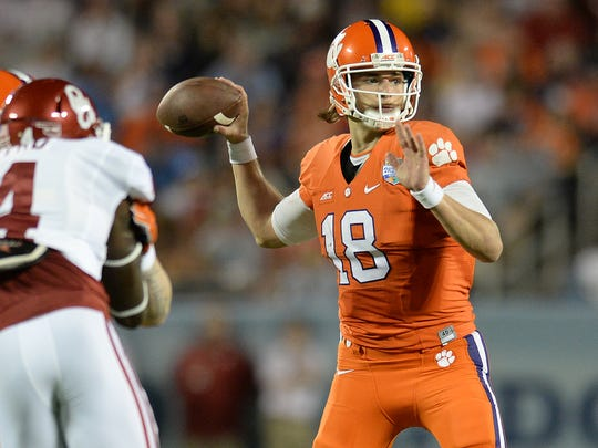 Clemson quarterback Cole Stoudt (18) looks to pass against Oklahoma during the 2nd quarter of the Russell Athletic Bowl Monday, December 29, 2014 in Orlando, Fl.